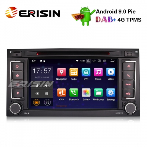 "Erisin ES4856T 7"" Android 9.0 Car Stereo GPS Wifi TPMS Sat Nav DVD DAB+ For VW T5 Multivan Touareg"