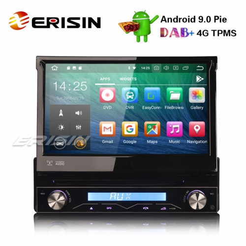 Erisin ES4808U 1 Din Detachable DAB+ Android 9.0 Car Stereo DVD GPS WiFi TPMS DVR DTV BT OBD2 4G