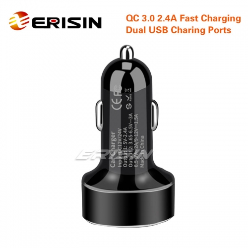 Erisin ES050 QC 3.0 Quick Car Charger Travel Dual USB 2.4A LED Fast Smart For iPhone Android