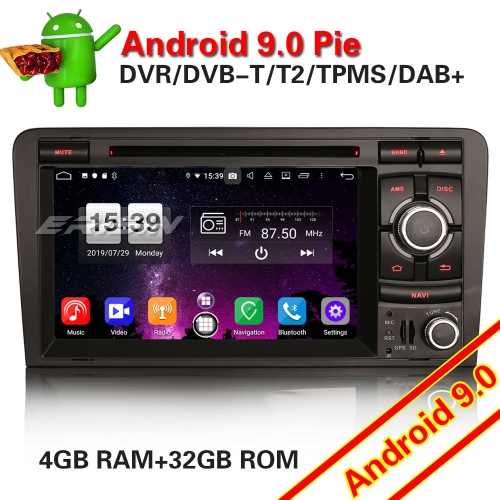 Erisin ES7737A SWC GPS Car DVD Android 9.0 PX5 Audi A3 S3 RS3 RNSE-PU Bluetooth DAB+2-UI DTV OBD Wifi Mirror