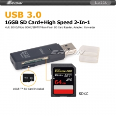 Erisin ES116 Free 16GB TF +USB 3.0 2-In-1 Memory Card Reader Adatper TF SD/Micro SD/SDHC/SDXC