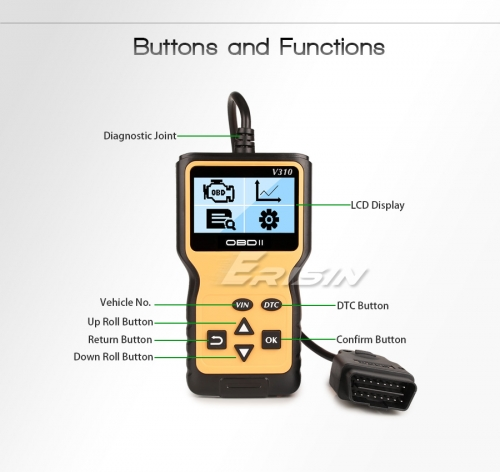 Erisin ES390 Handheld OBD 2 Scanner EOBD CAN Car Diagnostic Tool Fault Check LCD VIN DTC
