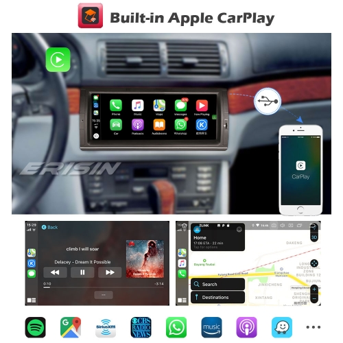 "Erisin ES1253B SWC CarPlay Android 9.0 BMW 5 Series E39 X5 E53 M5 Car Stereo Sat Navi DAB+ 10.25"" SWC TPMS DVR OBDII Mirror Link Bluetooth 5.0"
