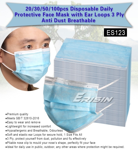 Erisin Face Mask ES123 20 pcs Disposable Daily Protectivewith Ear Loops 3 Ply Air Anti-Dust Breathable CE
