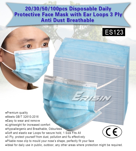 Erisin Face Mask ES123 30 pcs Disposable Daily Protectivewith Ear Loops 3 Ply Air Anti-Dust Breathable CE