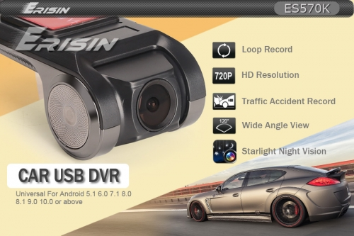 Erisin ES570K 120° 720P USB Car DVR HD Front Dash Recorder Camera For Android Car Stereo 16G TF SD Card Nighg Vision