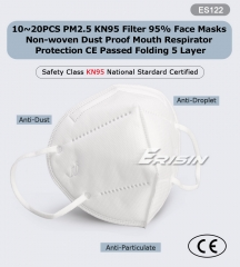 Face Mask Reusable KN95 N95 FFP2 P2 Erisin ES122 Respirator Valve 5 Ply 95% Filter Anti-Dust CE Certified Protective