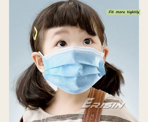 Erisin Face Mask Children ES125 100pcs Disposable Daily Protectivewith Ear Loops 3 Ply Air Anti-Dust Breathable CE
