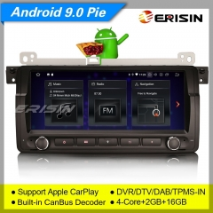 "Erisin ES1889B SWC CarPlay Android 9.0 BMW 5 Series E39 X5 E53 M5 Car Stereo Sat Navi DAB+  8.8"" SWC TPMS DVR OBDII Mirror Link Bluetooth 5.0"
