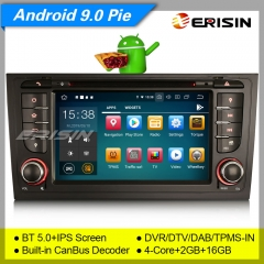 "Erisin ES8006A GPS Car Stereo For Audi A6 S6 RS6 Allroad IPS Android 9.0 DAB+Bluetooth 5.0 4G PX5 DVD CarPlay TPMS DVR 7"" Navi DVR TPMS OBDII Mirror"