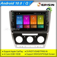 "Erisin ES3126S For VW Skoda Octavia GPS Car Stereo Android 10.0  9"" DAB+ 4G CarPlay TPMS DVR 7"" DSP Navi DVR TPMS OBDII Mirror Link Split 4G CAM"
