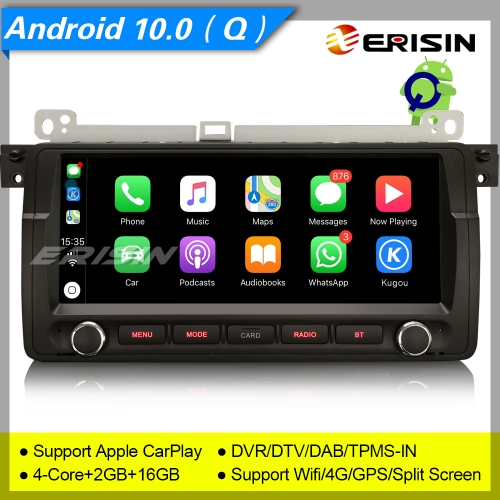 "Erisin ES3006B BMW 3 Series E46 M3 Rover 75 MG ZT GPS Car Stereo Android 10.0  8.8"" DAB+ 4G CarPlay TPMS DVR DSP Navi DVR TPMS OBDII Mirror Link Split"
