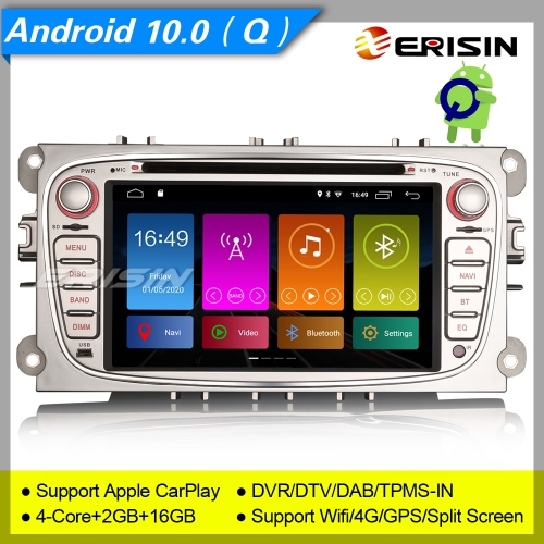 Erisin Car DVD Player Ford Mondeo Focus S-Max C-Max Galaxy ES7919FS Car Stereo Android 10.0 DAB+ CD OBD TPMS DSP 7in Wifi 4G DVR SWC