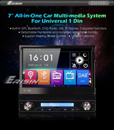 "Erisin ES6588K 7"" Detachable 1 Din DAB+Car Stereo Car DVD PlayerRadio USB SD GPS Bluetooth RDS DTV SatNavi"