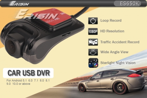 Erisin ES650K DVR Camera Car Dash USB For Android 5.1-10.0 Car Stereo DVD Sat Navi 1080P HD 150° Night Vision With 16GB TF SD Card