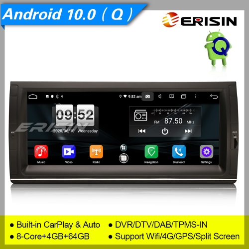 "Android 10 BMW Car Stereo Radio E53 E39 X5 M5 5er DAB+CarPlay DSP DVR 10.25"" Erisin ES8725B"