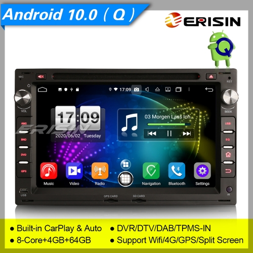 "Android 10.0 Car DVD PlayerFor VW Seat PASSAT Peugeot Golf T4 Leon DSP DAB+DVR 7"" Erisin ES8709V"