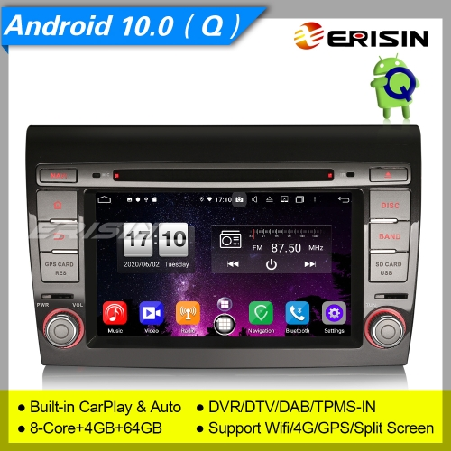 "Android 10.0 Car DVD Player Fiat Bravo PX5 CarPlay DSP SatNav DAB+TPMS OBD 4G 7"" Erisin ES8771F"