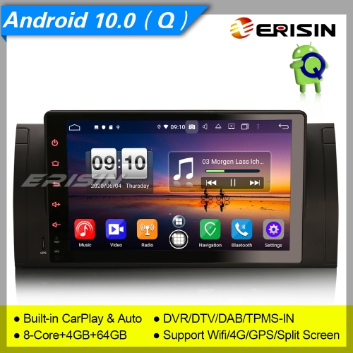 "Car Stereo Android 10 BMW E53 E39 X5 M5 5er Radio DAB+CarPlay DSP DVR TPMS 9"" Erisin ES8795B"