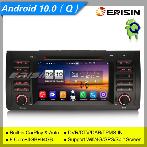 "PX5 Android 10.0 Car DVD Player BMW E53 E39 5er X5 M5 DSP DAB+CarPlay DVR OBD7"" Erisin ES8753B"
