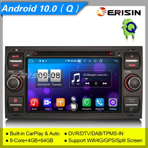 "Android 10.0 Car DVD Player Ford Focus Fiesta C-Max S-Max Transit DAB+DVR DSP 7"" Erisin ES8766FB"
