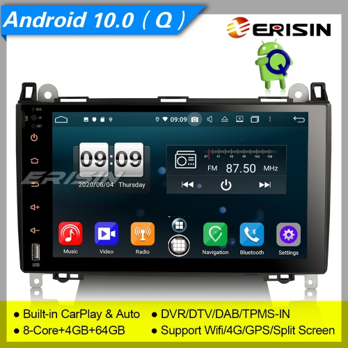 "Android 10.0 Mercedes Car Stereo W169 W245 W639 Vito DSP CarPlay DAB+DVR 4G 9"" Erisin ES8792B"
