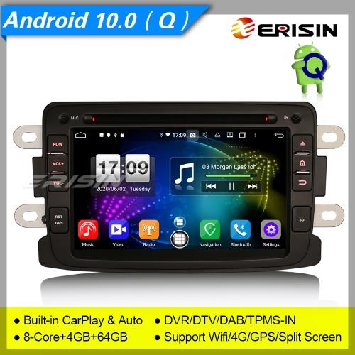 "Android 10.0 Renault Dacia Car DVD Player Sandero Duster Logan Dokker DAB+DSP 7"" Erisin ES8783D"