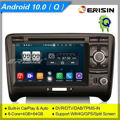 "Audi TT Car DVD Player Android 10.0 DAB+ DSP Navi CarPlay Navi OBD DVR 4G BT 7"" Erisin ES8739A"