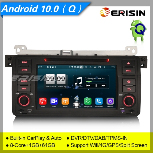 "DSP Android 10.0 BMW E46 Car DVD Player 318 320 325 M3 MG Rover DAB+ OBD TPMS 7"" Erisin ES8746B"