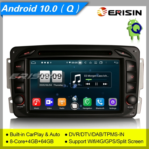 "Android 10.0 Car DVD Player Stereo DAB+Mercedes Benz C,CLK,G W203 W209 W639 W463 DSP 7"" Erisin ES8716C"