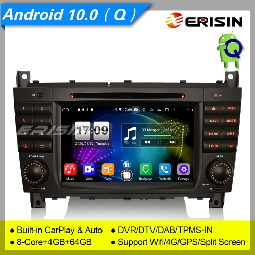 "DSP CarPlay Android 10.0 Mercedes Benz Car DVD Player Car Stereo C CLC CLK W203 W209 DAB+ 7"" Erisin ES8718C"