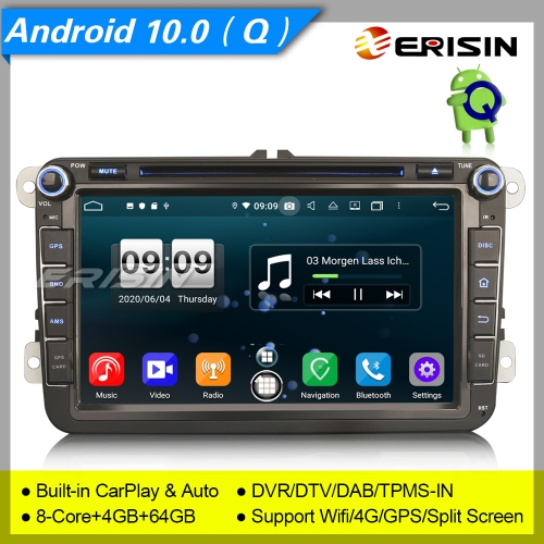 "Android 10 Car DVD Player Car Stereo For VW Golf Polo Seat Skoda Jetta Fabia DAB+DSP 8"" Erisin ES8715V"