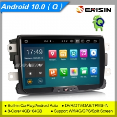 "4+64GB 8 Core CarPlay DSP Android 10.0 Renault Dacia Car Stereo Duster Logan DAB+ Radio Sat Navi Car Radio GPS DVR TPMS OBD PX5 8"" Erisin ES8129D"