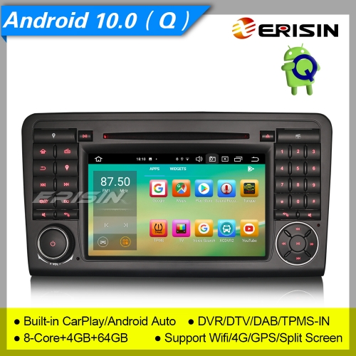 "4+64G 8 Core PX5 CarPlay DSP Android 10.0 Car DVD Player Mercedes Benz W164 X164 ML Class GL Class DAB+Radio DVR TPMS Car Stereo Sat Navi 7"" Erisin ES"
