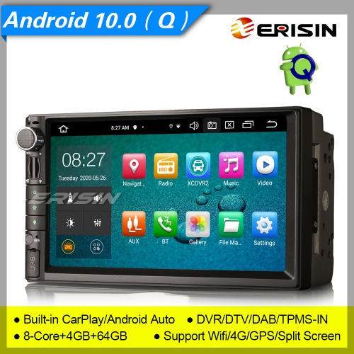 "8 Core 4+64GB PX5 DSP Android 10 Car Stereo 2 Din Double For Nissan DAB+ Radio GPS CarPlay DVR TPMS OBD BT 7"" Erisin ES8149U"