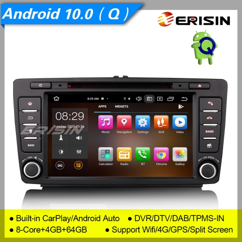 "8 Core 4+64GB PX5 Android 10.0 Car DVD Player For Skoda Octavia Yeti Rapid Superb DAB+ Radio Car Stereo Sat Navi GPS BT 4G DVR  8"" Erisin ES8126S"