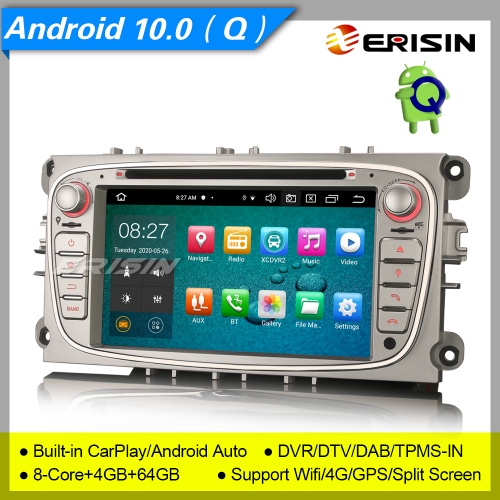 "4+64GB DSP 8 Core CarPlay Android 10 Ford Car DVD Player Focus Mondeo C-Max S-Max Galaxy DAB+ Radio Sat Navi Car Stereo TPMS DVR BT7"" Erisin ES8109FS"