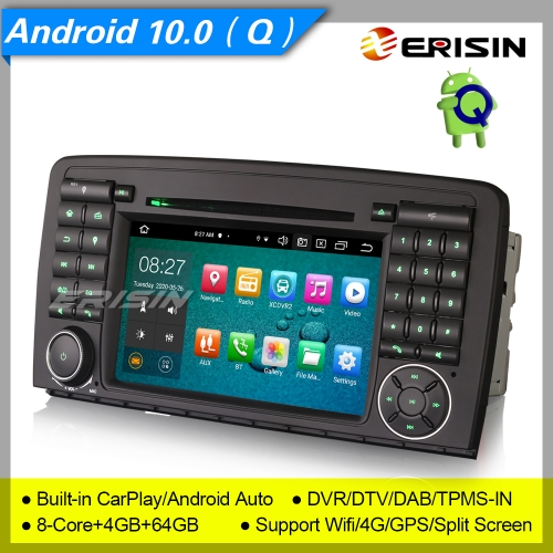 "CarPlay 4+64G 8 Core Android 10.0 Mercedes Bnez R Class W251 Car DVD Player DSP Car Stereo Sat Navi DAB+TPMS DVR BT 7"" Erisin ES8181R"