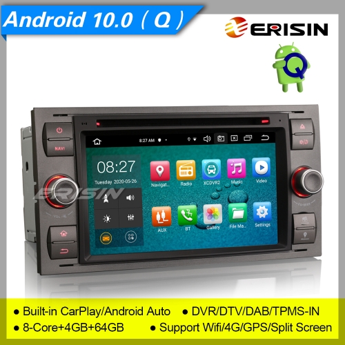 "8 Core PX5 CarPlay 4+64GB DSP Android 10.0 Car DVD Player Ford Fiesta Focus S/C-Max Transit  DAB+ Radio Car Stereo 7"" Erisin ES8166F"