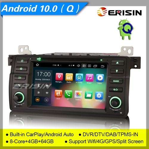 "8 Core 4+64GB CarPlay Android 10.0 PX5 BMW E46 Car DVD Player 3er 318 320 325 M3 Rove 75 MG ZT DSP Car Stereo Sat Navi DAB+4G DVR 7"" Erisin ES8162B"