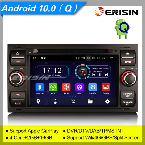 "2+16GB PX30 Android 10 Car DVD Player Ford Focus Fiesta C-Max S-Max Transit DAB+ Radio Sat Navi Car Stereo DVR TPMS GPS BT 4G CAM7"" Erisin ES5931FB"