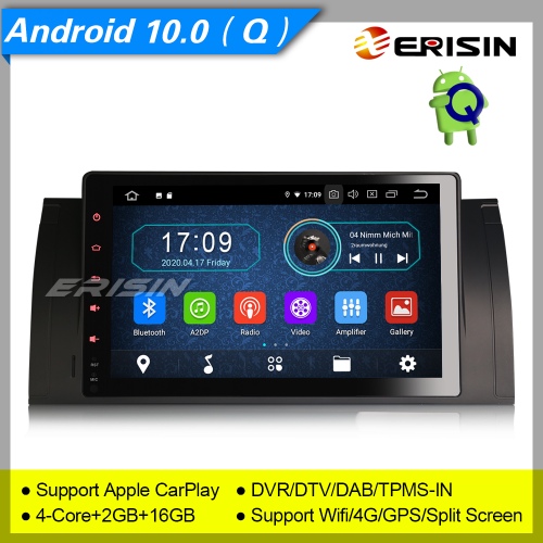 "2+16GB PX30 Android 10.0 Car Stereo Radio BMW 5 Series E53 E39 X5 M5 DAB+ Radio Sat Navi 4G GPS CarPlay BT DVR CAM TPMS 9"" Erisin ES5993B"