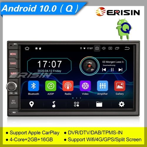 "2+16GB PX30 Autoradio Android 10.0 2 Din Car Stereo Car Radio Double DAB+ Radio CarPlay Sat Navi TPMS DVR Bluetooth OBD DTV USB SD 7"" Erisin ES5970U"