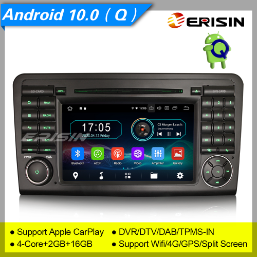 "2+16GB PX30 Android 10.0 Car DVD Player Mercedes Benz W164 X164 ML Class GL Class DAB+Radio Car Stereo GPS Sat Navi DTV TPMS BT 4G 7"" Erisin ES5961L"