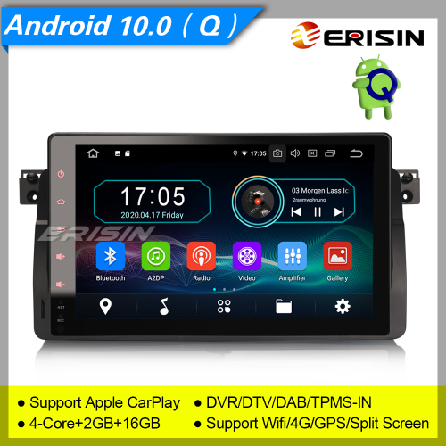 "2+16GB PX30 CarPlay Android 10.0 BMW E46 Car Stereo 318 320 325 3er Rover 75 MG ZT Sat Navi DAB+ Radio GPS BT DVR TPMS OBD 9"" Erisin ES5996B"