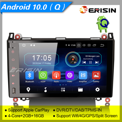 "2+16GB PX30 CarPlay Android 10.0 Car Stereo Mercedes Benz W639 Viano W169 W245 A B Class VW Crafter DAB+ Radio Sat Navi GPS DVR TPMS 9"" Erisin ES5992B"