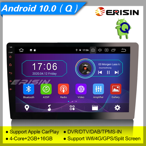 "2+16GB PX30 Android 10.0 Single 1 Din Car Stereo Detachable DAB+ Radio BT Sat Navi TPMS OBD GPS TPMS DVR TPMS 4G 10.1"" Erisin ES5910U"