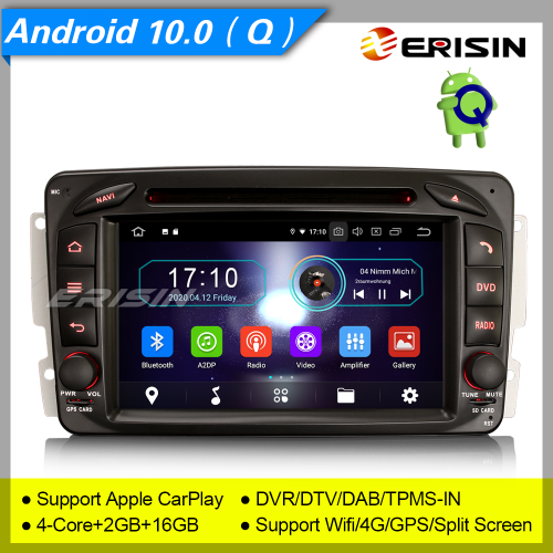 "2+16GB PX30 Android 10.0 Car DVD Player Mercedes Benz W203 W209 C,CLK,G Vito Viano Car Stereo DAB+ Radio 4G DVT BT TPMS GPS 7"" Erisin ES5963C"