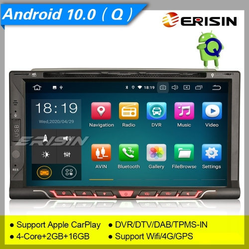 "2+16GB PX30 Android 10.0 Car Stereo Double 2 Din For Nissan DVD DAB+DVR Car DVD Player Sat Navi CarPlay 4G DVR TPMS BT 7"" Erisin ES5137U"