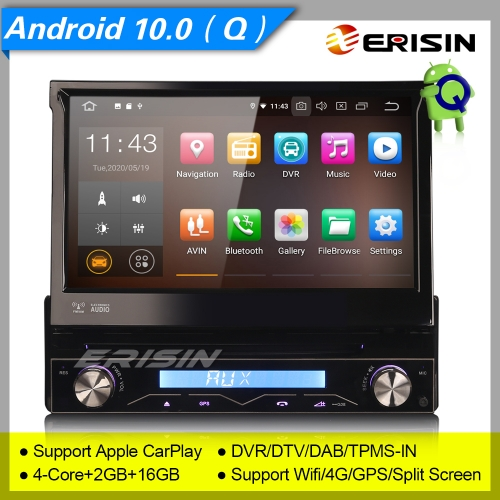 "2+16GB PX30 Android 10.0 Single 1 Din Car DVD Player Signle Detachable Front Panel Car Stereo Sat Navi GPS BT DVR OBD DAB+TPMS 7"" Erisin ES5188U"